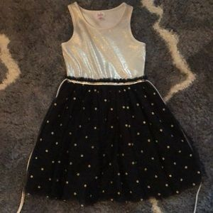 Justice size 8 gold and black holiday dress